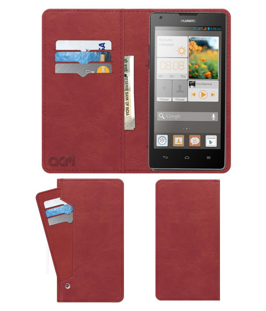 Huawei Ascend G700 Flip Cover by ACM - Pink Wallet Case,Can store 6 Card & Cash,Peach Pink