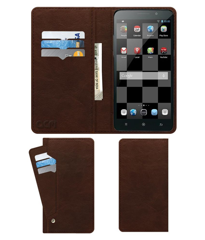 Iberry Auxus Nuclea X Flip Cover by ACM - Brown Wallet Case,Can store 6 Card & Cash,Rich Brown