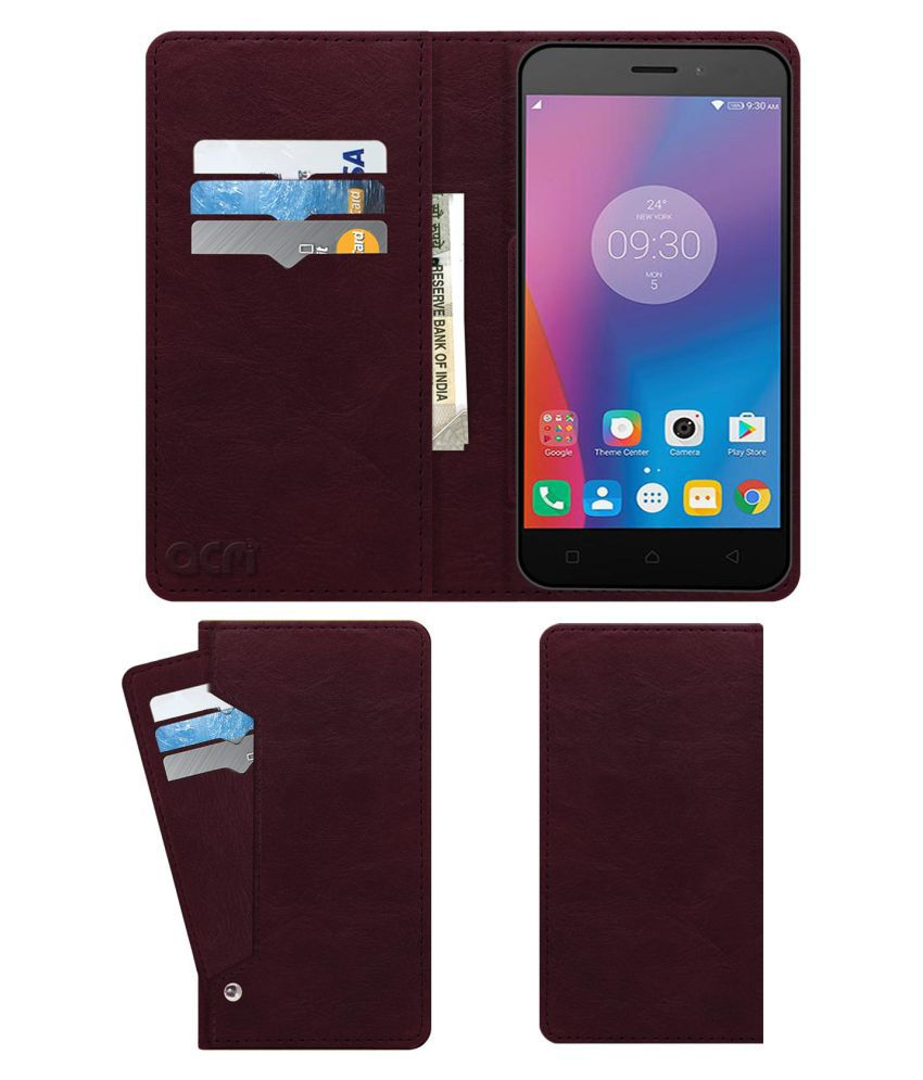 Lenovo K6 Flip Cover by ACM - Red Wallet Case,Can store 6 Card & Cash,Burgundy Red