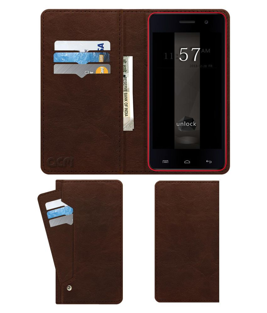 Micromax Unite 2 A106 Flip Cover by ACM - Brown Wallet Case,Can store 6 Card & Cash,Rich Brown