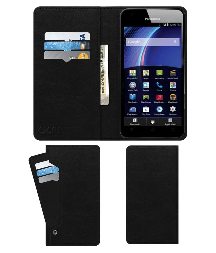 Panasonic Eluga U Flip Cover by ACM - Black Wallet Case,Can store 6 Card & Cash,Royal Black