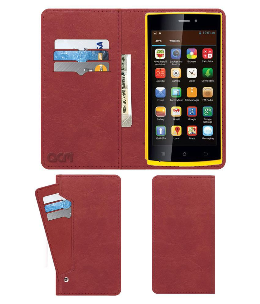 iBall Andi 4.5p Glitter Flip Cover by ACM - Pink Wallet Case,Can store 6 Card & Cash,Peach Pink