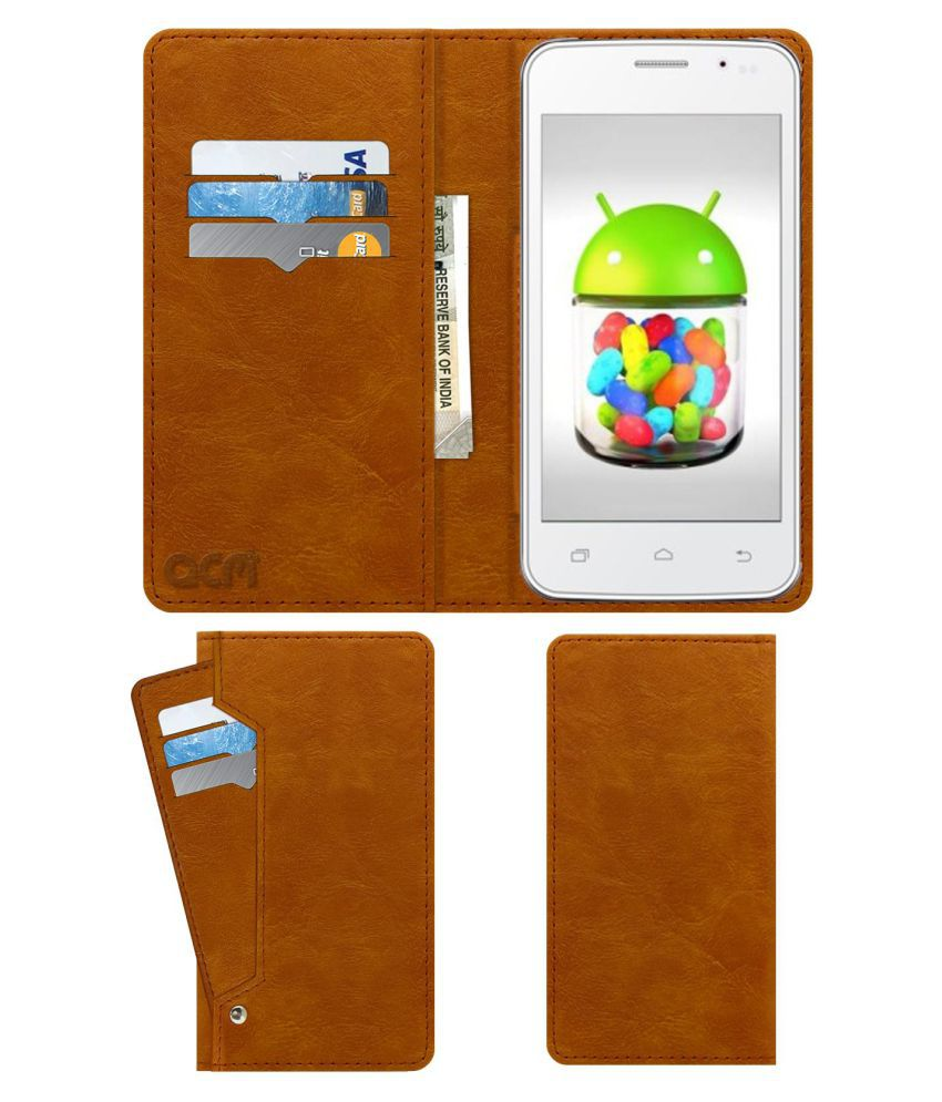 Cheers Smart X 3g Plus Flip Cover by ACM - Golden Wallet Case,Can store 6 Card & Cash,Classic Golden