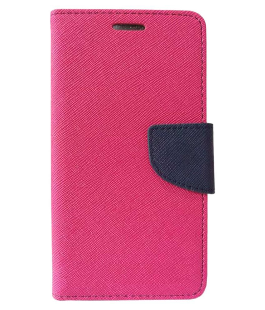 HTC One M8 Flip Cover by Kosher Traders - Pink Premium Mercury