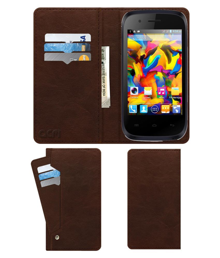 Intex CLOUD X5 Flip Cover by ACM - Brown Wallet Case,Can store 6 Card & Cash,Rich Brown