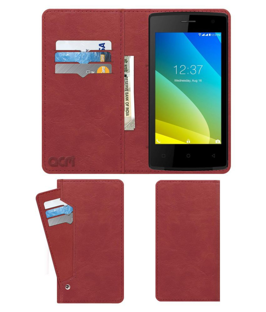 Intex Cloud C1 Flip Cover by ACM - Pink Wallet Case,Can store 6 Card & Cash,Peach Pink