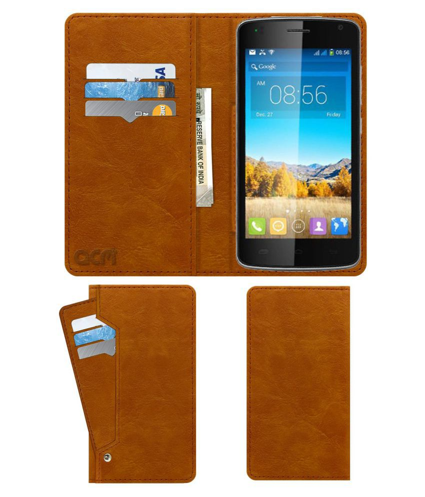 Karbonn Alfa A120 Flip Cover by ACM - Golden Wallet Case,Can store 6 Card & Cash,Classic Golden