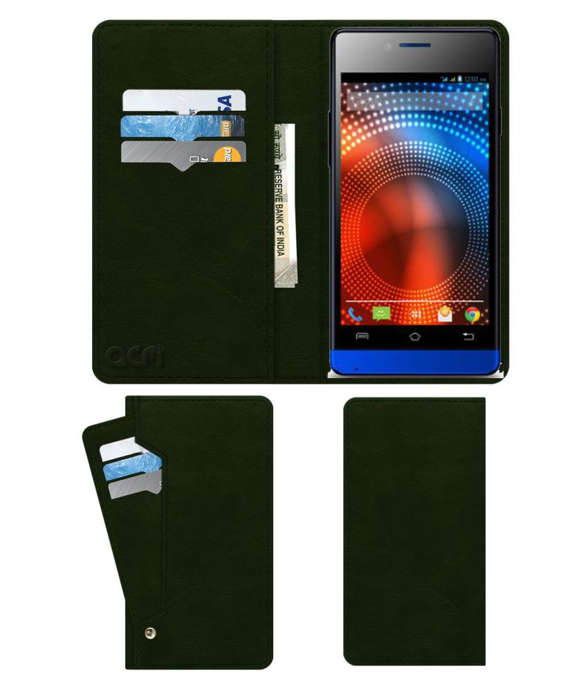 Lava Iris 444 Flip Cover by ACM - Green Wallet Case,Can store 6 Card & Cash,Teal Green