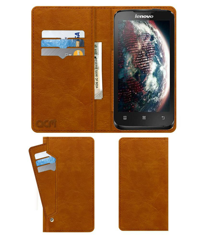 Lenovo A316i Flip Cover by ACM - Golden Wallet Case,Can store 6 Card & Cash,Classic Golden