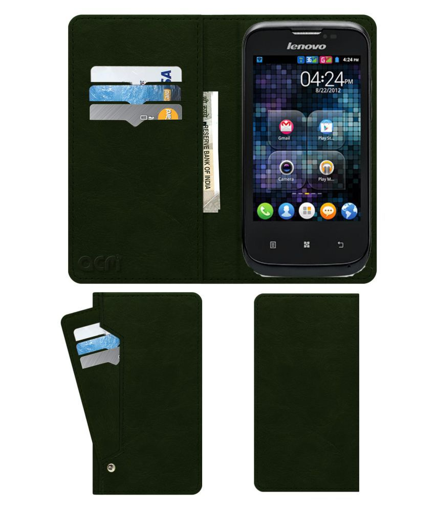 Lenovo A60+ Flip Cover by ACM - Green Wallet Case,Can store 6 Card & Cash,Teal Green