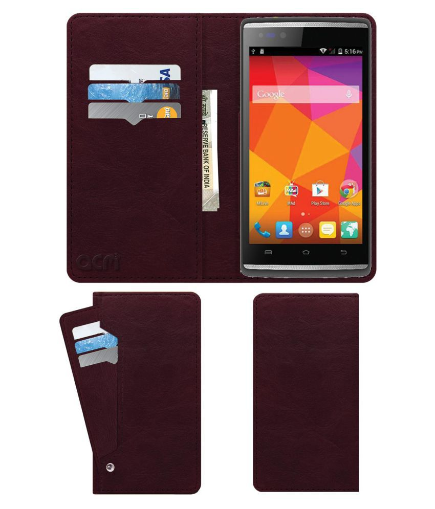 new style 2bcbd 3cc59 Micromax Canvas Fire 4G Plus Q411 Flip Cover by ACM - Red Wallet Case,Can  store 6 Card & Cash,Burgundy Red