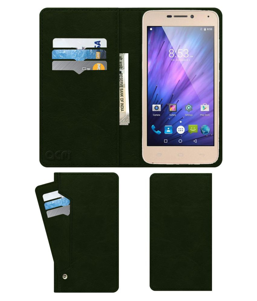 PHONEMAX MARS X Flip Cover by ACM - Green Wallet Case,Can store 6 Card & Cash,Teal Green