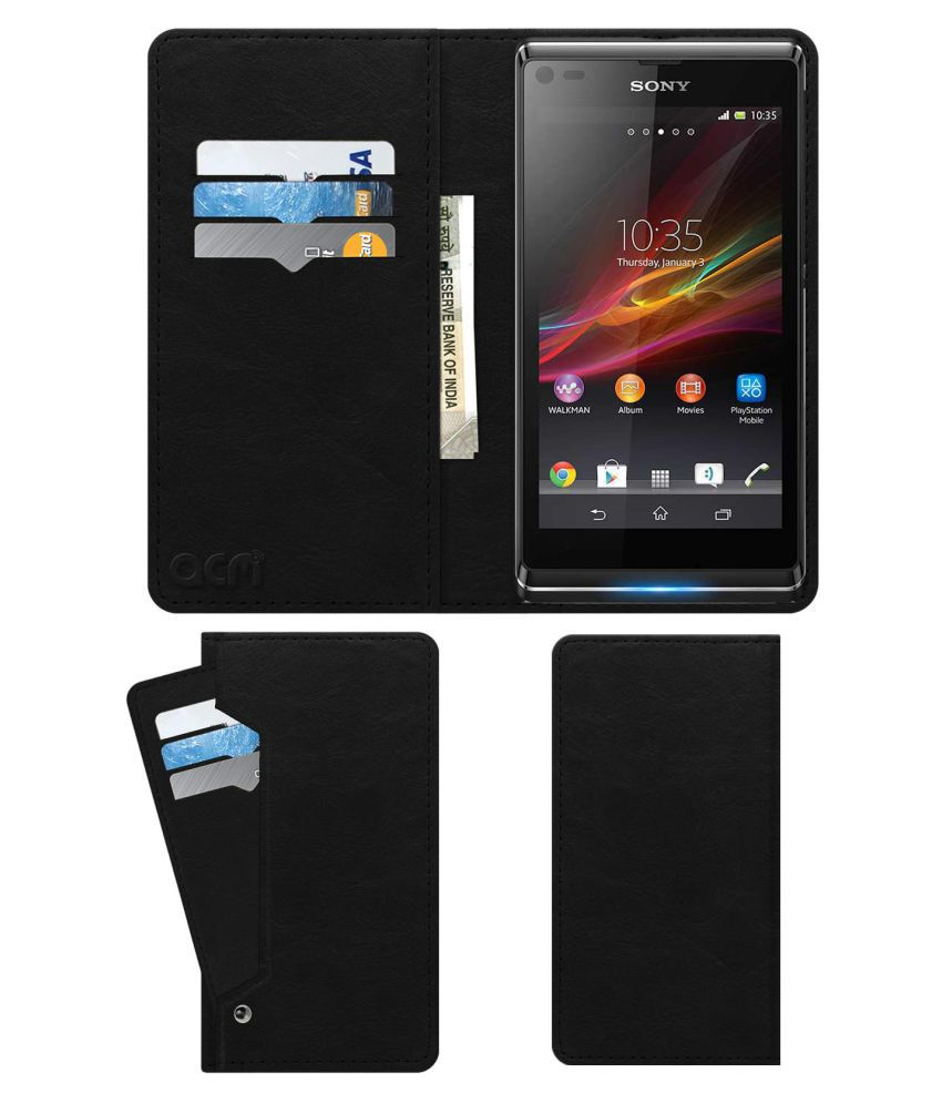 Sony Xperia L Flip Cover by ACM - Black Wallet Case,Can store 6 Card & Cash,Royal Black