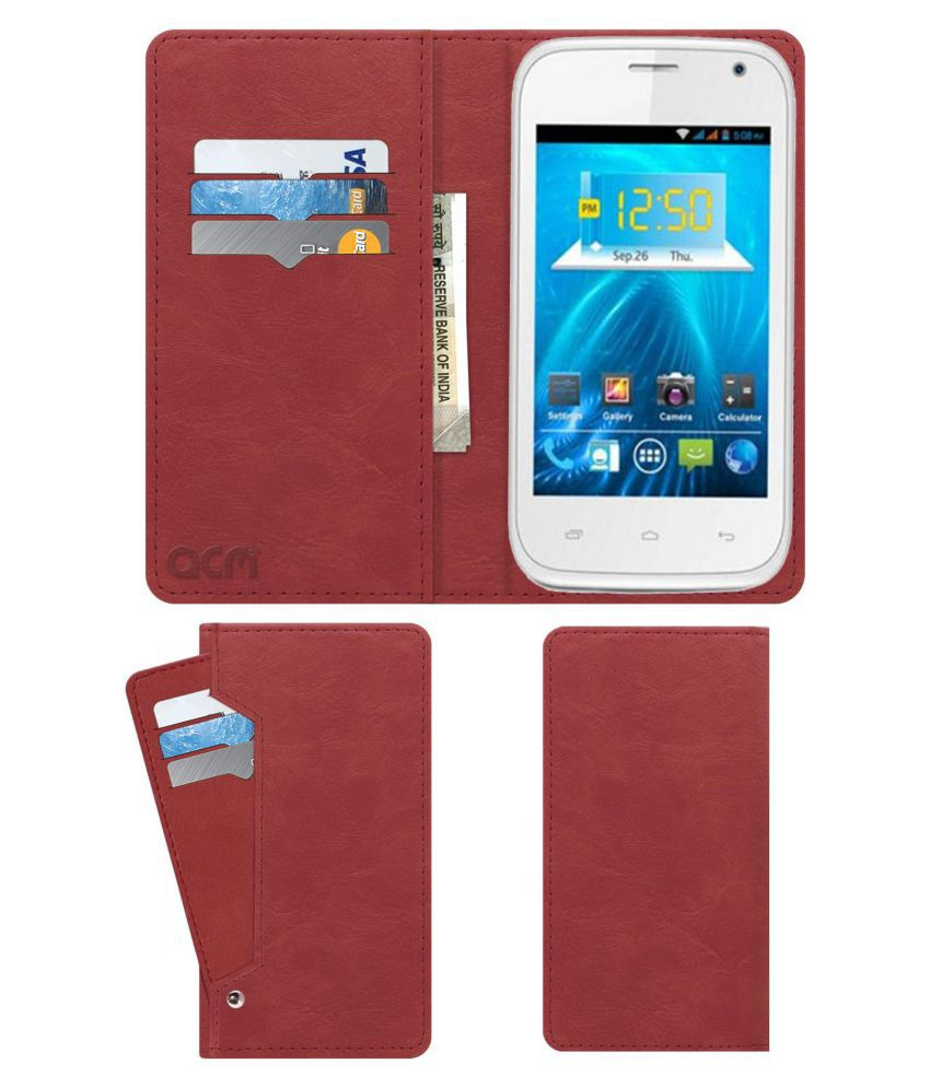 Spice Smart Flo Ivory MI 423 Flip Cover by ACM - Pink Wallet Case,Can store 6 Card & Cash,Peach Pink