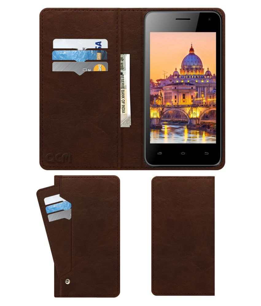 ZIOX ASTRA NXT PLUS Flip Cover by ACM - Brown Wallet Case,Can store 6 Card & Cash,Rich Brown