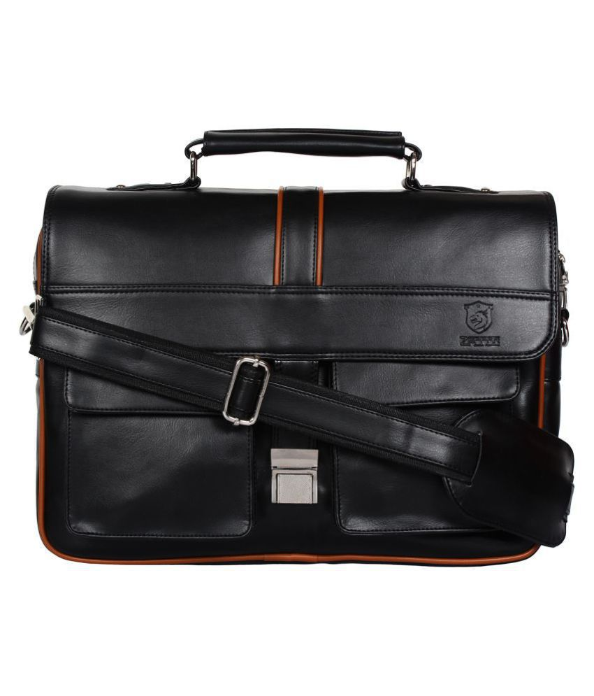 Zeppar Black P.U. Office Messenger Bag