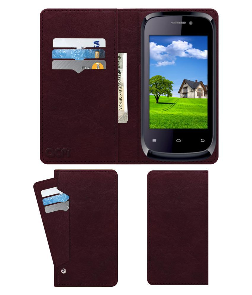 Iball Andi 3.5kke Genius Flip Cover by ACM - Red Wallet Case,Can store 6 Card & Cash,Burgundy Red