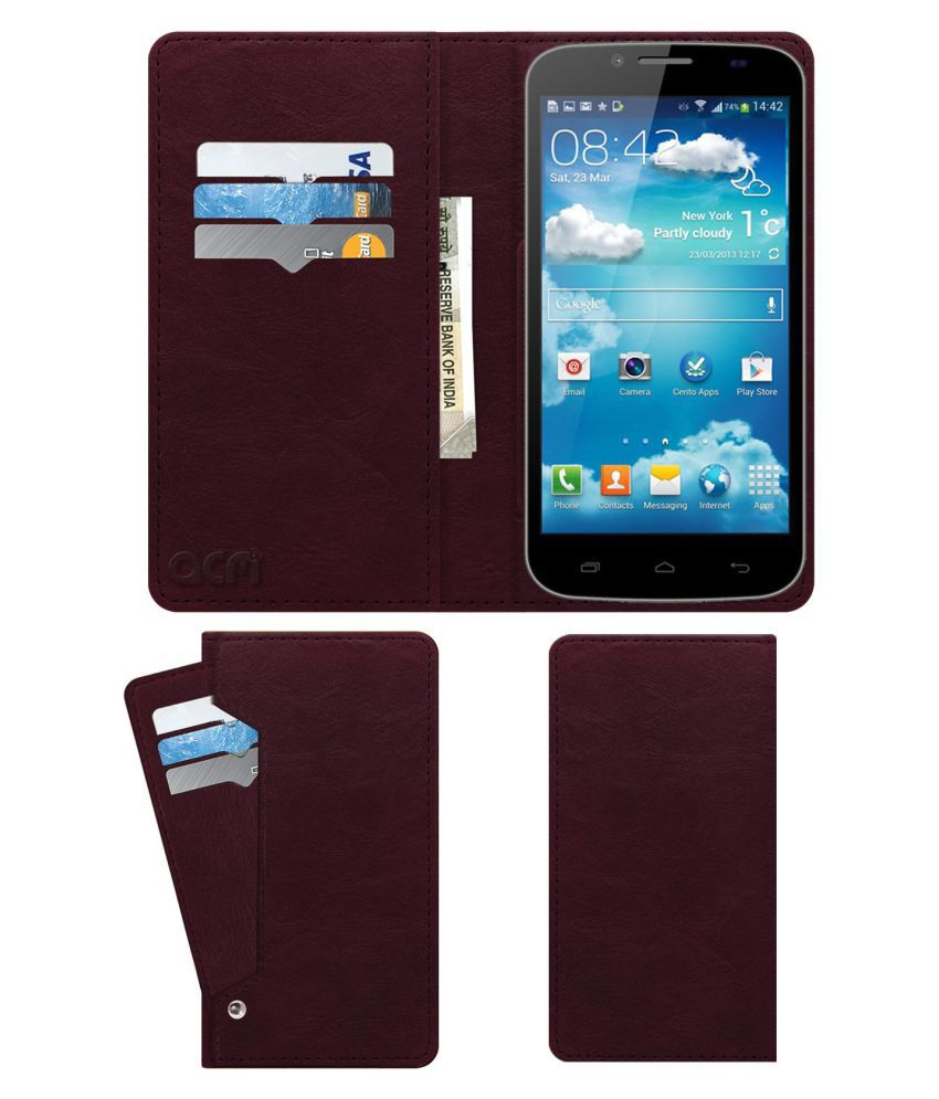 Karbonn Titanium S6 Flip Cover by ACM - Red Wallet Case,Can store 6 Card & Cash,Burgundy Red