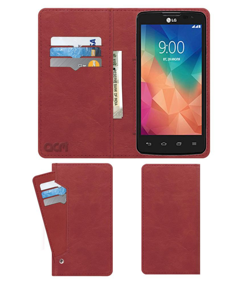 Lg L60i Flip Cover by ACM - Pink Wallet Case,Can store 6 Card & Cash,Peach Pink