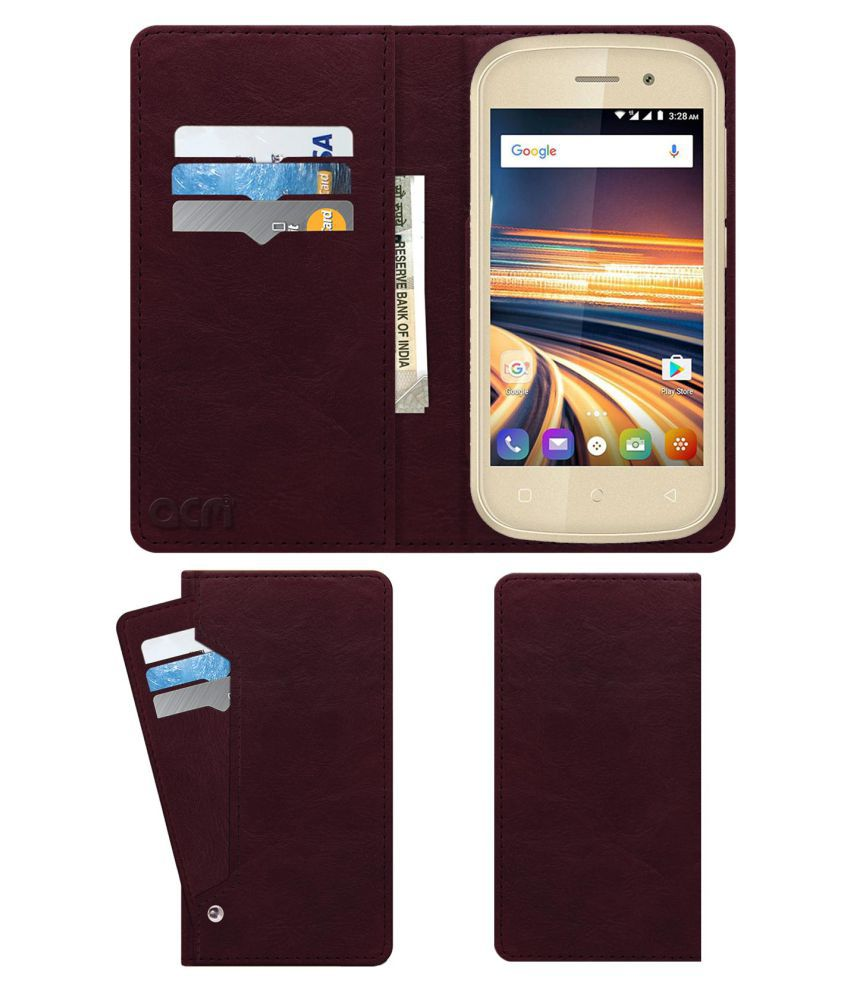 SWIPE ELITE PRIME Flip Cover by ACM - Red Wallet Case,Can store 6 Card & Cash,Burgundy Red