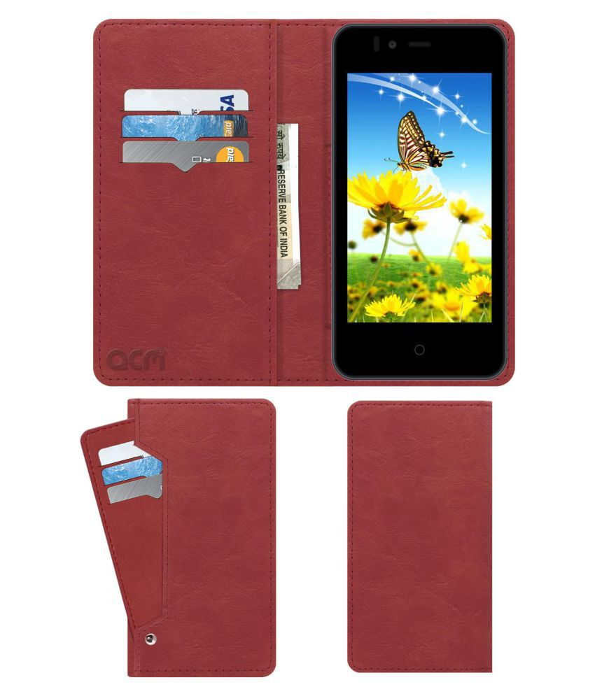 TRIO T40S Flip Cover by ACM - Pink Wallet Case,Can store 6 Card & Cash,Peach Pink