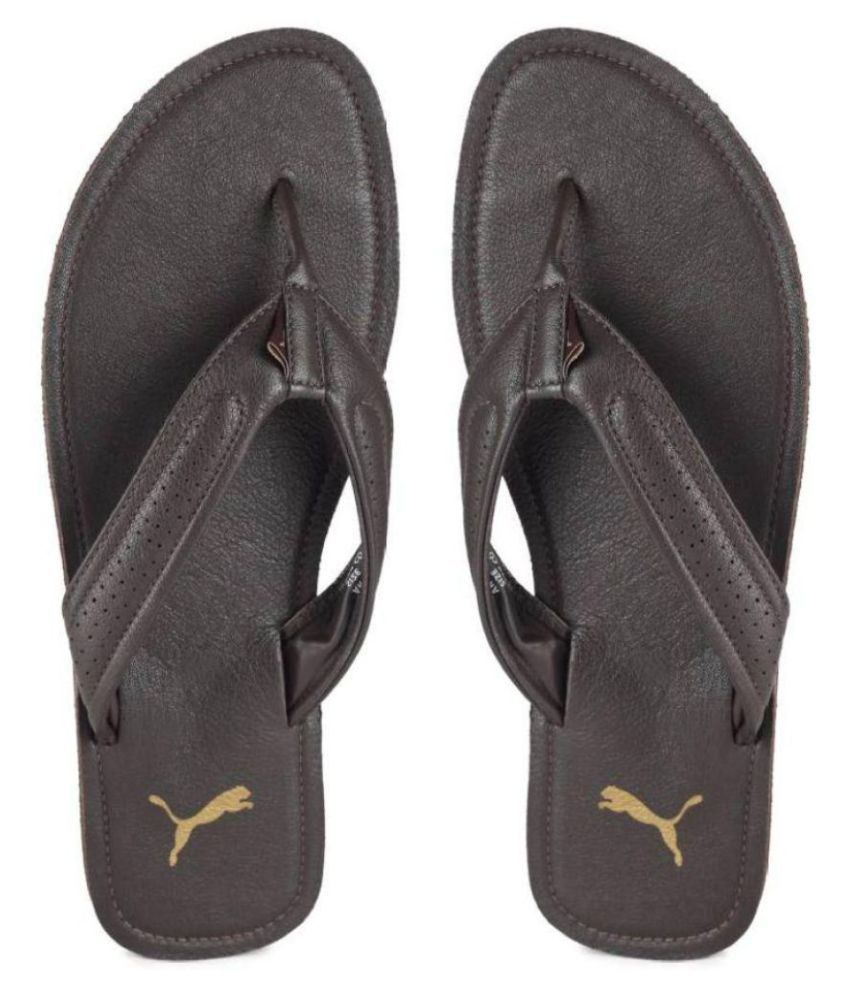 4c727c0baa93 Puma Brown Leather Slippers Price in India- Buy Puma Brown Leather Slippers  Online at Snapdeal