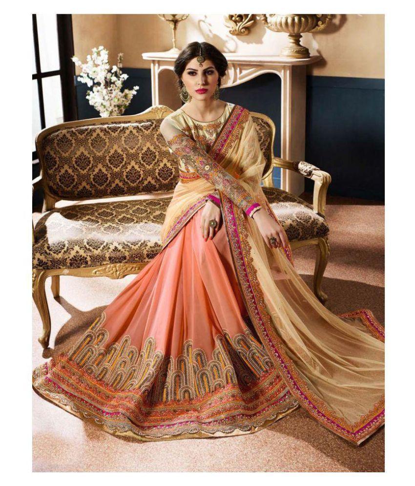 brahmani fashion Brown and Beige Georgette Saree