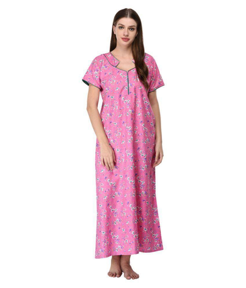 NIGHTFAB Cotton Nighty & Night Gowns - Pink