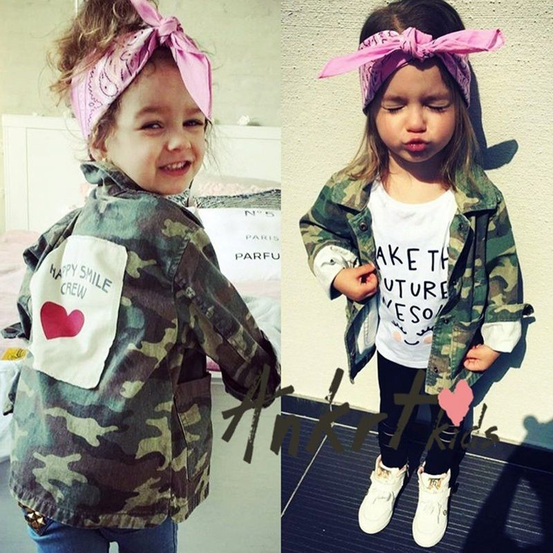 Autumn Winter New Gril Children Fashion Camouflage Jackets Boys and Girls  Lapel Outwear Casual Cute Tops