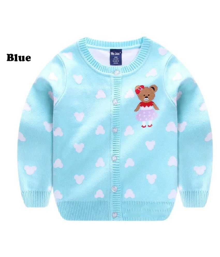 New Fashion Girls Children Double Layer Embroidery Cute Bear  Cardigan Sweaters Autumn and Winter Warm Long Sleeve O Neck Knitted Sweater Outwear Kids Coat Jackets Tops