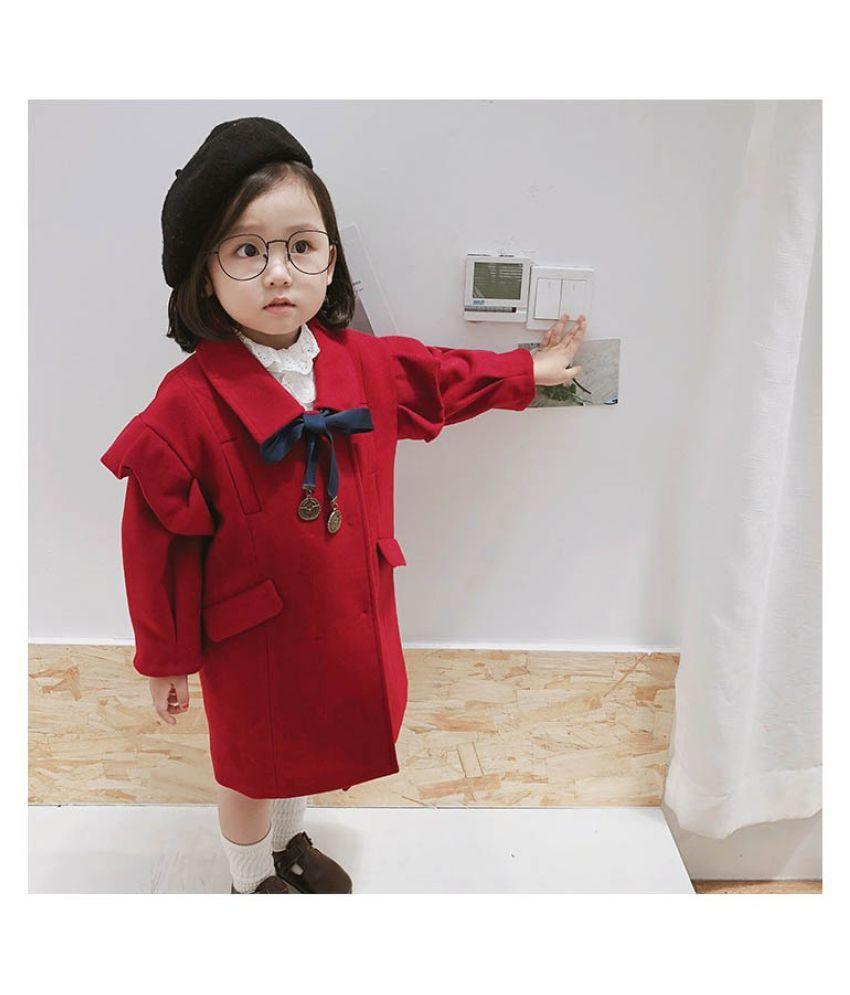 Sweet Kids Girls Cute Bow Ruffles Western Fashion New Autumn Winter Jackets Children Girls Coats