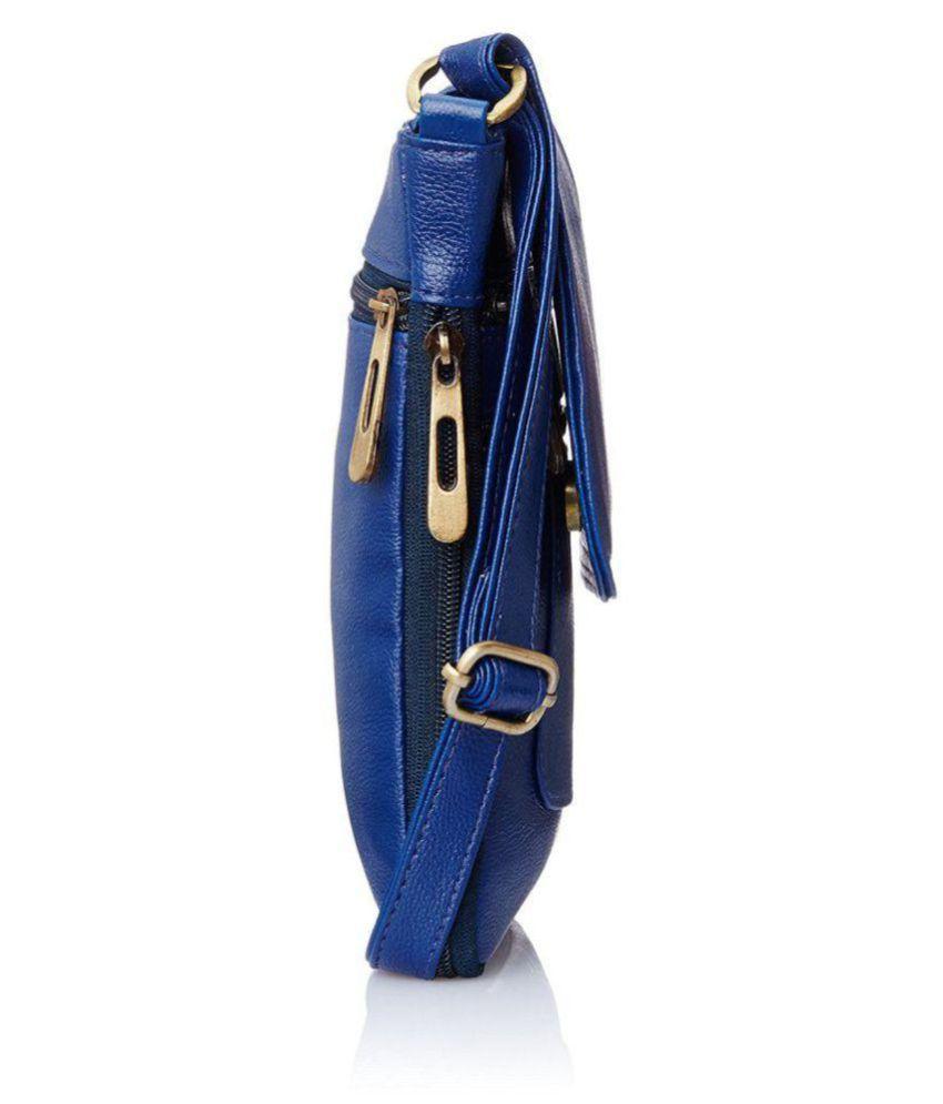 671d83d8f9 Ratan s Blue Faux Leather Sling Bag - Buy Ratan s Blue Faux Leather ...