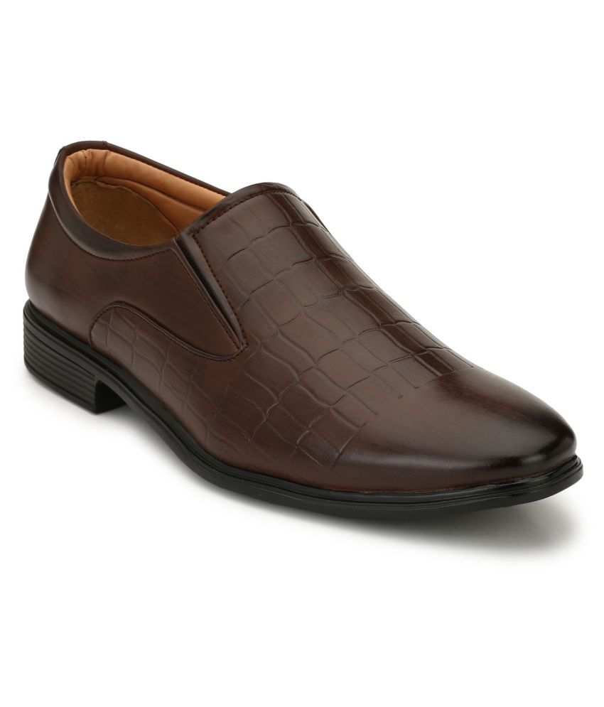 Leeport Slip On Artificial Leather Brown Formal Shoes