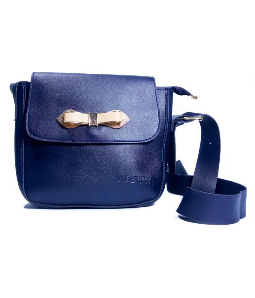 OLEBEST Dark Blue P.U. Sling Bag
