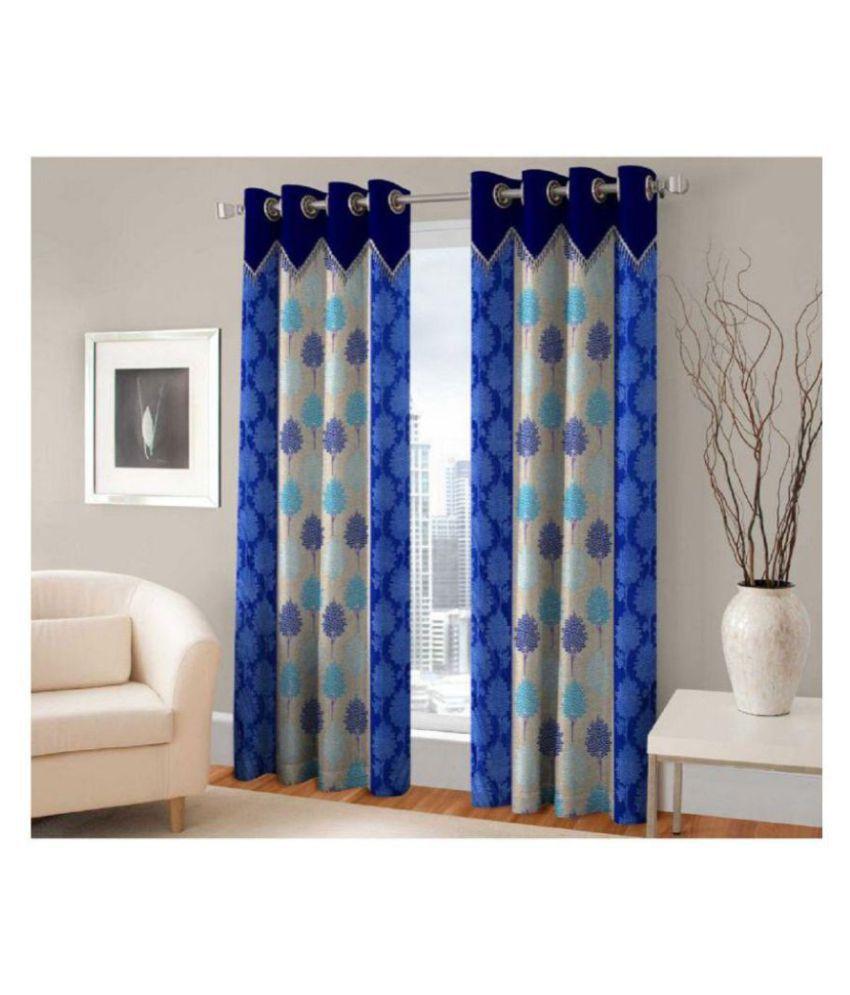 Tanishka Fabs Set of 2 Window Semi-Transparent Eyelet Polyester Curtains Blue