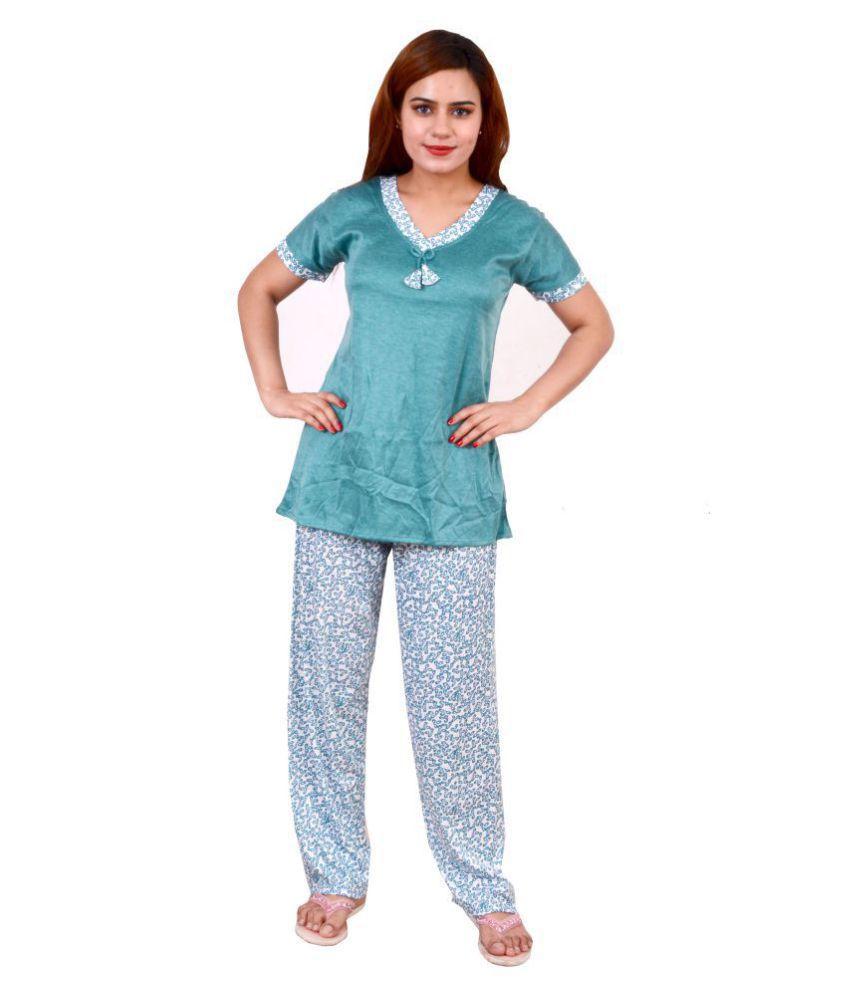 Jeenat Hosiery Nightsuit Sets - Blue