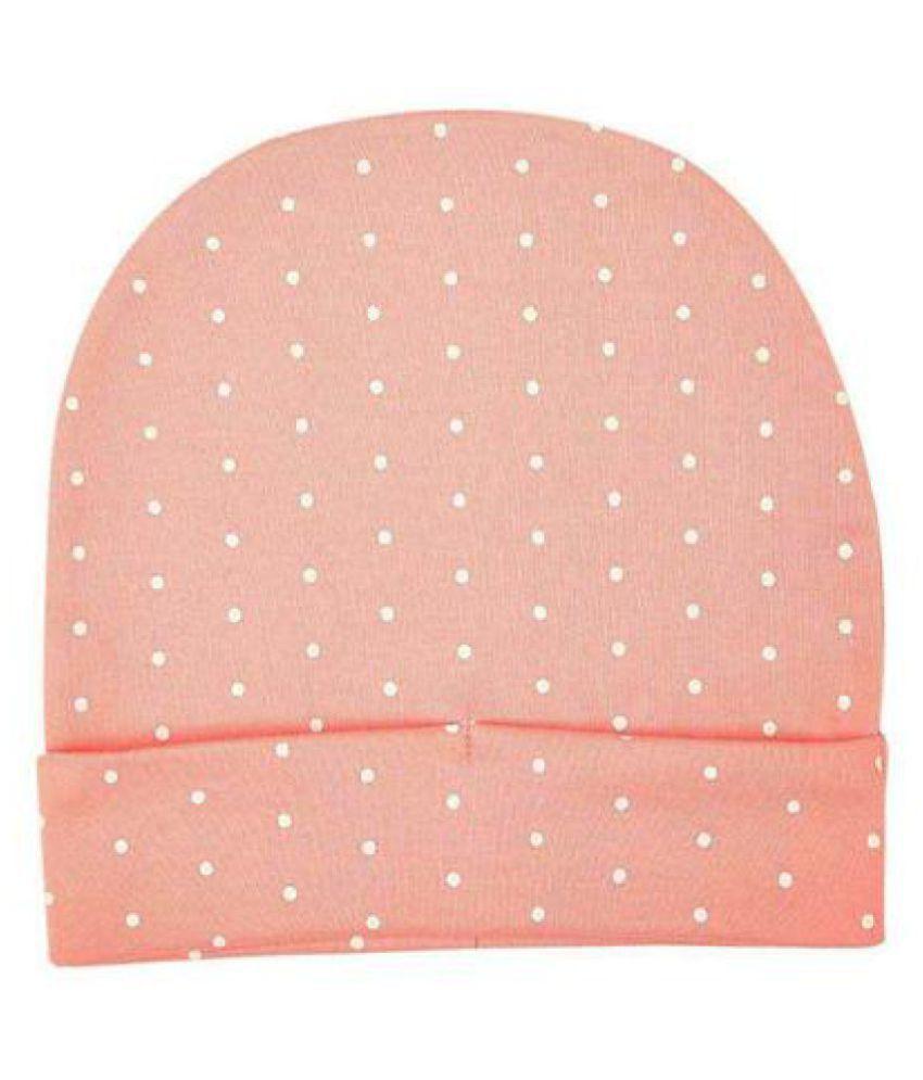 Softsens Baby Certified Organic Cotton Cap, Pink & White Polka Dot Print (6-12 Months)