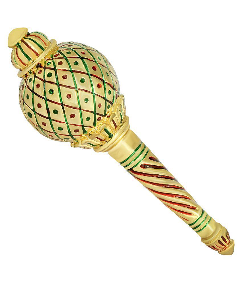 Dzine Trendz Gold Plated Brass, Meenakari, Thick and Super Heavy, Hanuman  Bajrang Bali Gada, Mace, Ghota, Hindu Pooja artcile Stylish