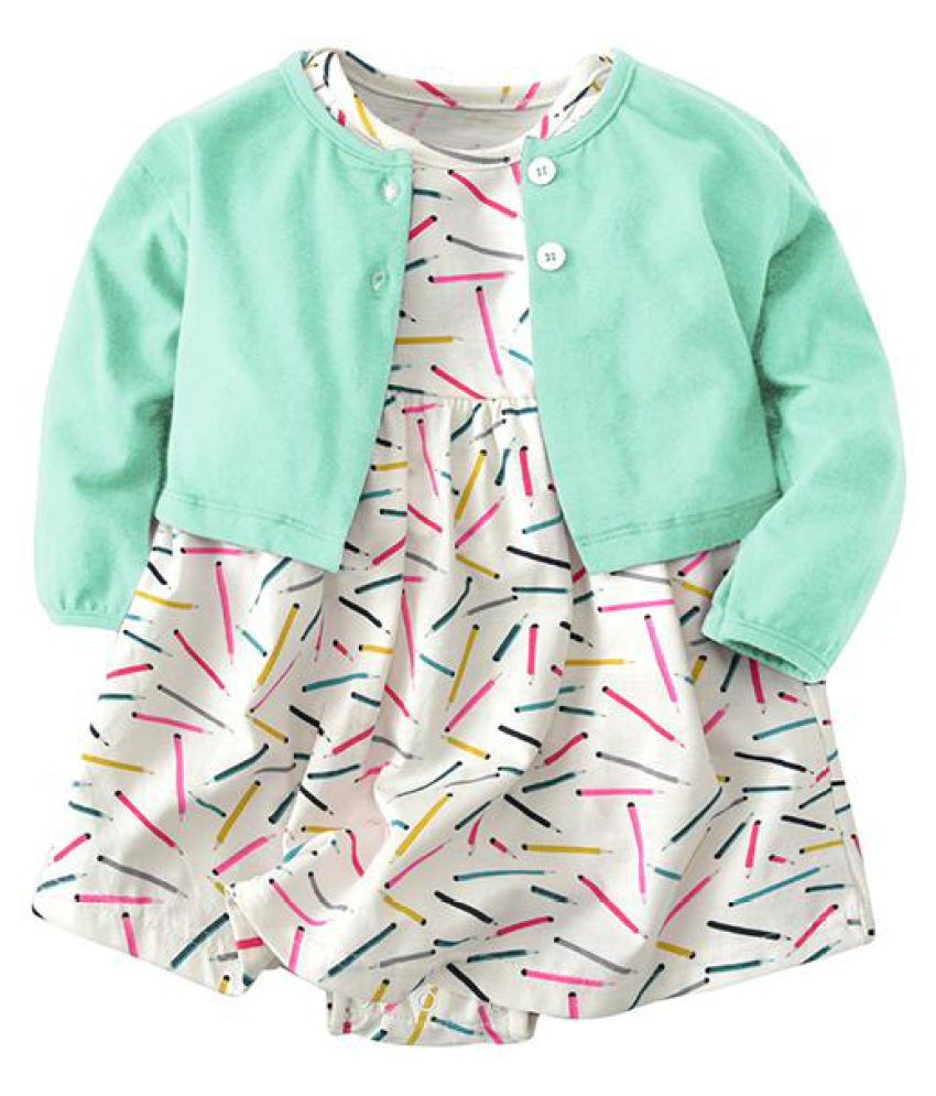 a18082b6871 ... 2pcs Floral Baby Girls Romper Dresses with Coat Clothing Set For 0-36M  ...