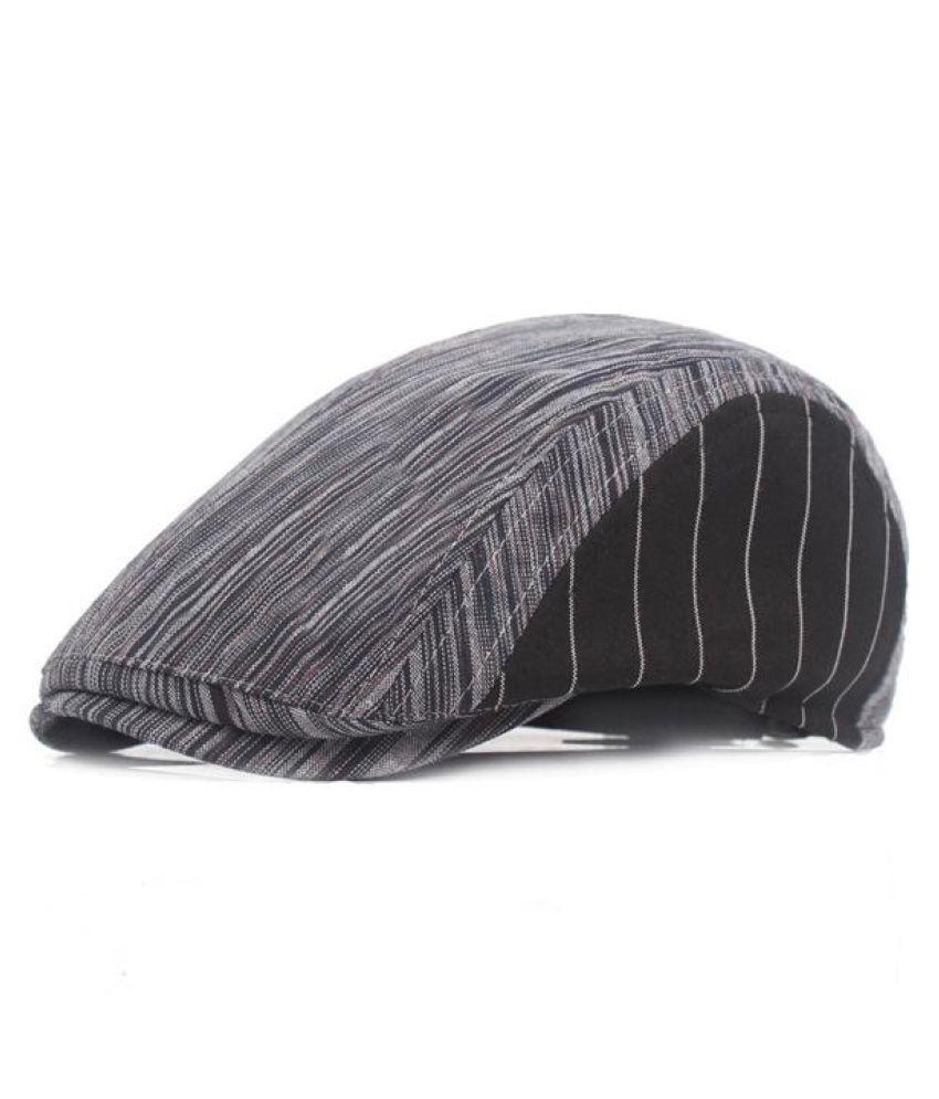 ... Men Women Cotton Stripe Beret Hat Adjustable Buckle Paper Boy Newsboy  Cabbie Golf Gentleman Cap ... c208049634ed