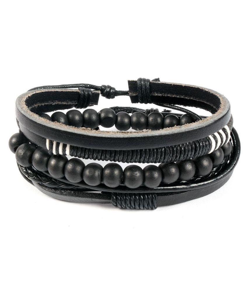 Ayesha Black Faux Leather Bracelets