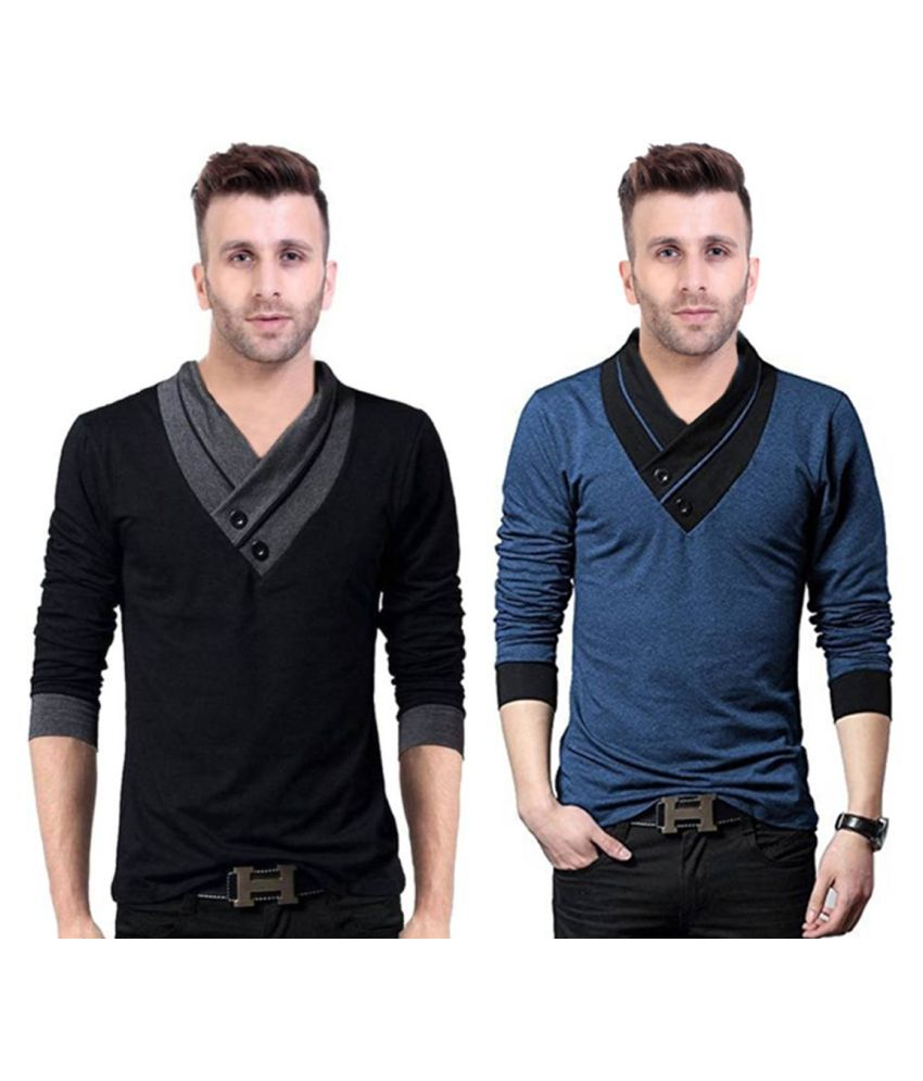 Try This Black Full Sleeve T-Shirt Pack of 2
