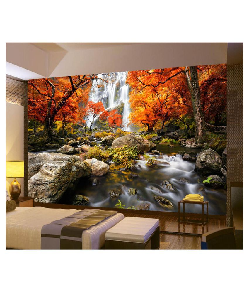 3D Photo Wallpaper Wall Mural River Waterfall Maple Nature ...