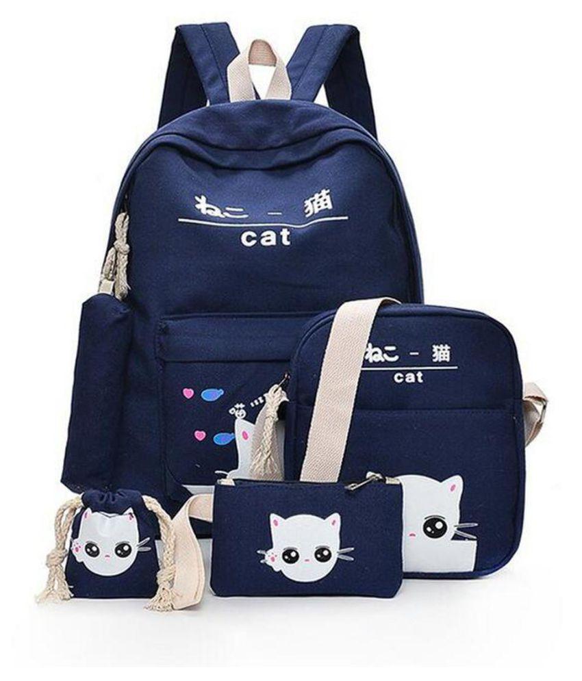 5Pcs//set Women Teenage Backpack Student School Bags Rucksack Girls Canvas Cat