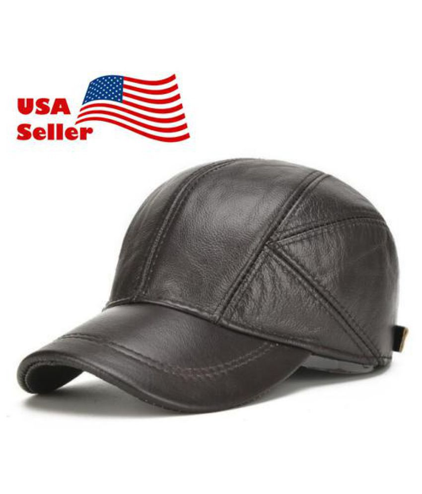 299846579e7 2018 US 100% Genuine Leather Hat Men s Ear Hat Winter Warm Cowhide Baseball  Cap  Buy Online at Low Price in India - Snapdeal