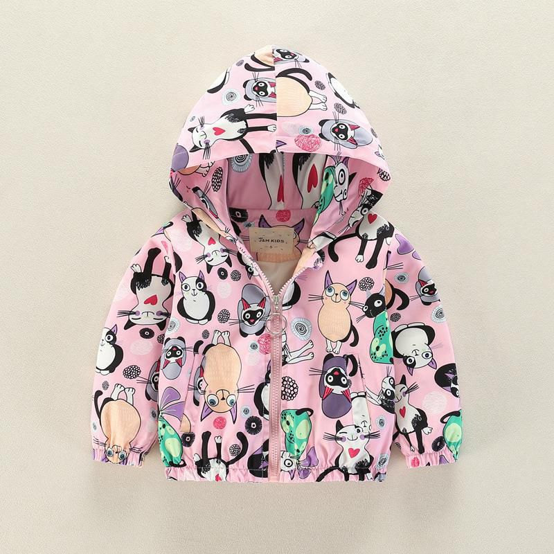 Cute Animals Printed Girls Boys Kids Hooded Coats Outerwear For 2Y-9Y