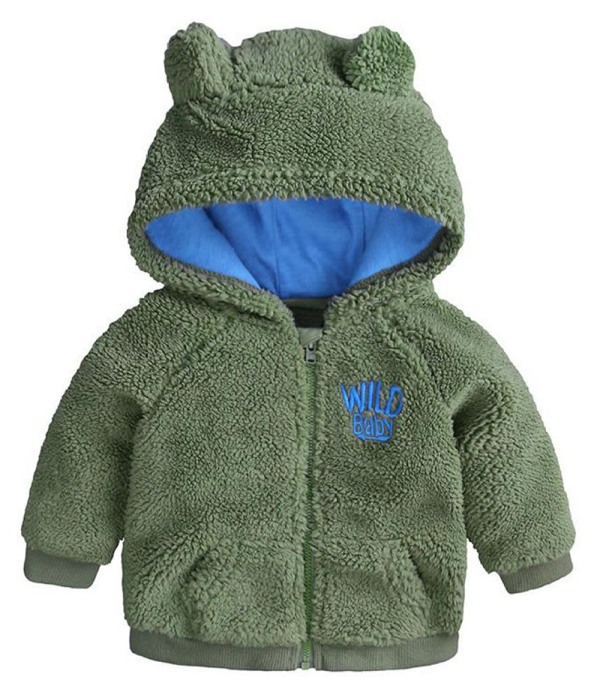 Cute Ear Baby Girls Boys Hooded Coats Fleece Outerwear For 0-36M