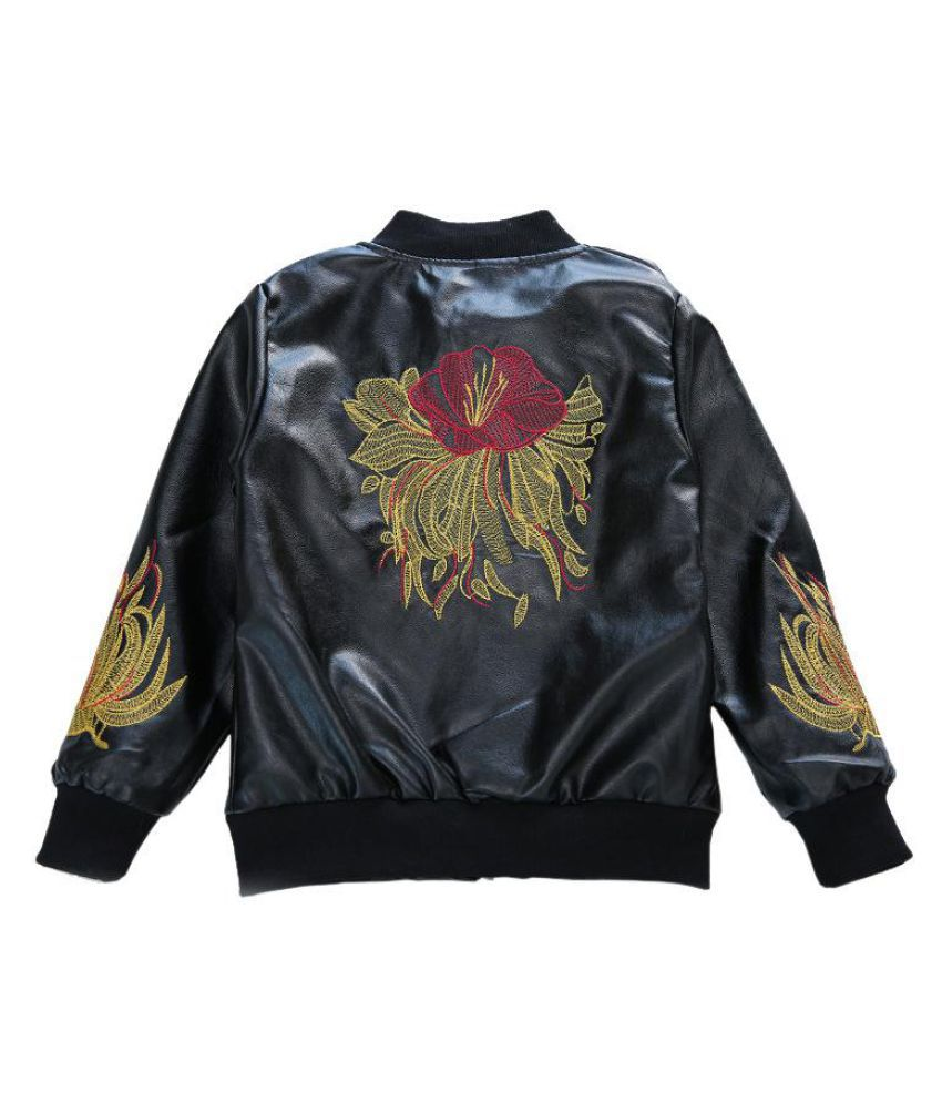 Floral Embroidery Boys Kids Black Jacket Coat Leather Clothing For 4Y-15Y
