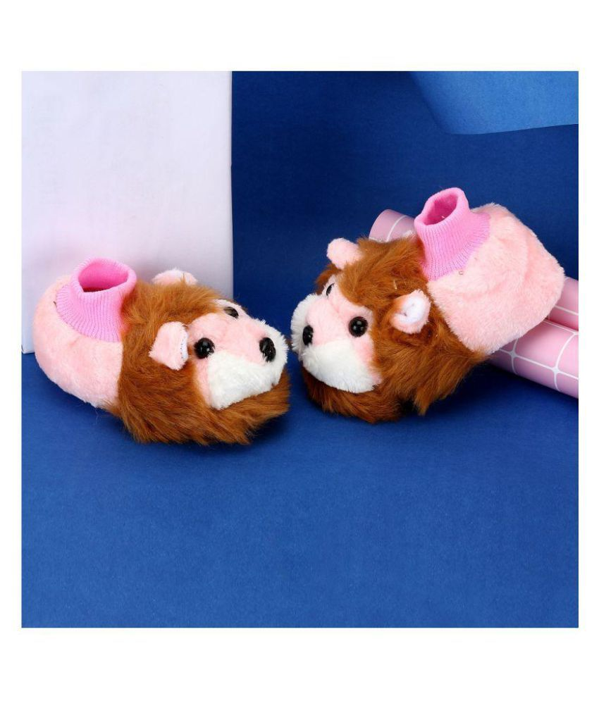 Passion Petals Girls Pink Winter Animal Booties With Soft Sole - Lion