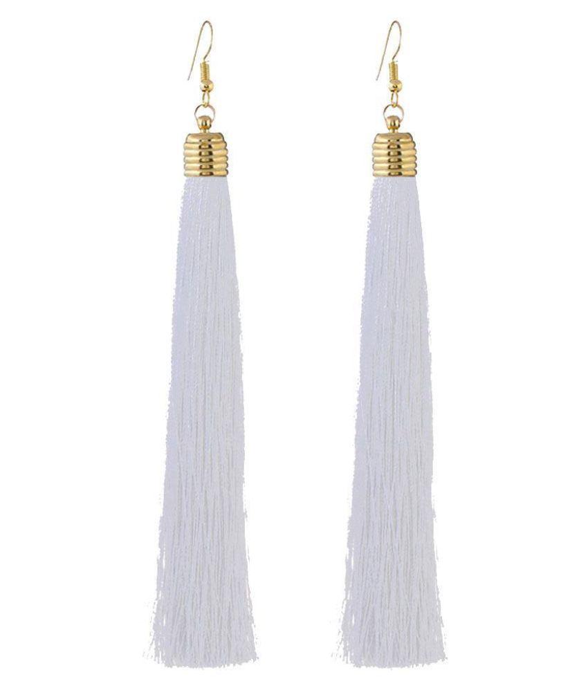 Women Ethnic Vintage Style Long Tassel Dangle Drop Round Hoop Earrings Jewelry
